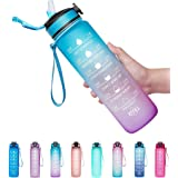 Giotto 32oz Large Leakproof BPA Free Drinking Water Bottle with Time Marker & Straw to Ensure You Drink Enough Water Througho