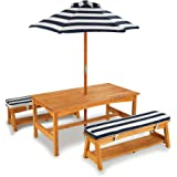 KidKraft Outdoor Table & Bench Set with Cushions & Umbrella - Navy & White Stripes, Natural, 1 cm