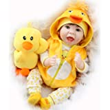Aori Realistic 22in Reborn Baby Doll in Ducky Outfit, Yellow, 22'' (24325)