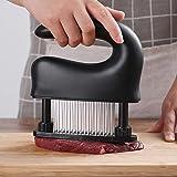 [ミートテンダーライザー/洗浄ブラシ ]ステンレス製 肉筋切り器 ミートソフター 肉たたき (黑)