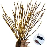 Agyvvt 3 Pcs Warm White 20 LED Lighted Twig Branches USB Powered Artificial Tree Lights Willow Branch Lamp for Home Decor Hol