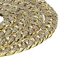モダン 14K ゴールドメッキ アイスアウト マイアミ キューバ ヒップホップ ネックレス チェーン チョーカー スタイル 11mm