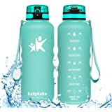 KollyKolla Sports Water Bottle - 350/500/800/1000ml/1.5L Reusable Plastic Drink Bottle with Time Marker and Filter, BPA Free