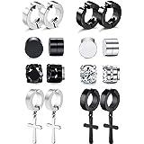 RIOSO Magnetic Stud Earrings for Men Women Stainless Steel Hoop Cross Non Piercing Fake Gauges Earring Black CZ Hypoallergeni