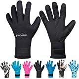 OMGear Neoprene Gloves Diving Wetsuit Gloves 3mm 5mm Glued Anti-Slip Flexible Thermal with Adjustable Waist Strap for Snorkel