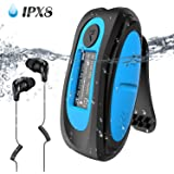 Swimming MP3 Player with Clip Screen, AGPTEK 8GB IPX8 Waterproof Music Player with Headphones for Running Sports, S07E Suppor