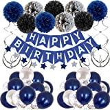 Birthday Decorations Men Blue Birthday Party Decorations for Men Women Boys Grils, Happy Birthday Balloons for Party Decor Su