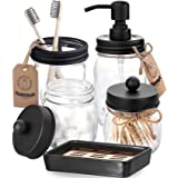 AOZITA Mason Jar Bathroom Accessories Set 5 Pcs - Mason Jar Soap Dispenser & 2 Apothecary Jars & Toothbrush Holder &Ceramic D