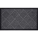 Durable Rubber Door Mat for Indoor Outdoor, 17x29Inch, Non-Slip, Waterproof, Easy Clean, Low-Profile, Commercial Doormats for
