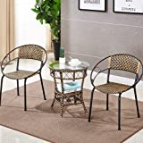 AINIYF Patio Furniture Set 3 Piece Outdoor Wicker Bistro Set Rattan Chair Conversation Sets with Coffee Table/20.1x22.4inches