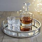 Le'raze Mirrored Vanity Tray, Decorative Round Tray with Chrome Handles for Display, Perfume, Vanity and Bathroom, Elegant Mi