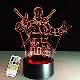 (deadpool remote control) - 3D Lamp Deadpool Remote Control Best Gift For boys Acrylic Table Night light Furniture Decorative
