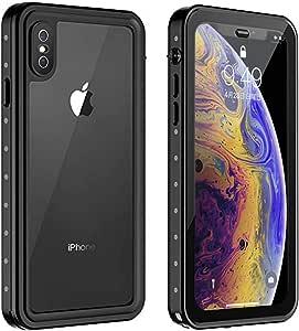 iPhone XS/X ケース 防水ケース 耐衝撃ケース 5.8インチ対応 360°全方向保護 米軍MIL規格取得 フェイスID認証・Qi充電対応 超軽量 塵・キズ·落下防止 高耐久ケース 風呂 雨 プール 海 (iPhone XS/iPhone X, 黒)