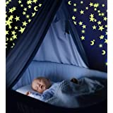 Pack of 300 Glowing Stars & Moon. Fluorescent Ceiling Stars for Kids. Glow in The Dark Stars and Moon Set for Bedrooms and Nu