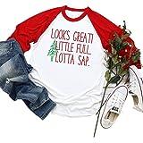 Looks Great Little Full Lotta Sap Shirt Cute Christmas Graphic Trees Raglan T-Shirt for Women Xmas Vacation Tee Tops