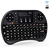 (Updated, Backlit) Rii i8+ 2.4GHz Mini Wireless Keyboard with Touchpad Mouse, LED Backlit, Rechargable Li-ion Battery-Black