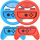 Joy-Con Grip (2 Pack) Joy-Con Steering Wheel (2 Pack) for Nintendo Switch, Momen Game Hand Grip Accessory Kit Cover Case for