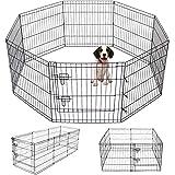 Pet Playpen Puppy Playpen Kennels Dog Fence Exercise Pen Gate Fence Foldable Dog Crate 8-Panels 24 Inch Kennels Pen Playpen O