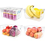 【2 Large & 2 Medium】 Puricon Set of 4 Refrigerator Clear Organizer Bins, Kitchen Storage Plastic Food Containers with Handles