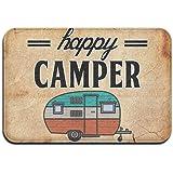 """Happy Camper Camping Door Mat Entrance Mat Floor Mat Rug Indoor/Outdoor/Front Door/Bathroom Mats Rubber Non Slip £¨24""""x36"""",40"""