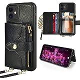 iPhone12 アイフォン12Pro用 6.1ケース ZVE カード収納 札&コイン 背面手帳型 コインポケット スタンド機能 レザーケース 2way ベルト&ストラップ付き 財布型カバー ICカード入れ 2020新型アイフォン12 プロ/アイフォ
