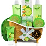 Home Spa Bath Basket Gift Set - Aromatherapy Kit for Men & Women - Natural Cucumber with Organic Melon - 12 Piece Skin Care S