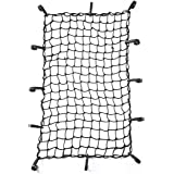 "CZC AUTO 22""x38"" Black Latex Bungee Cargo Net Strech to 44""x76"", Luggage Netting with 2""X2"" Small Mesh and 12 Adjustable Plas"