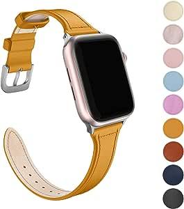 FRESHCLOUD コンパチブル Apple Watch バンド 38mm 40mm 本革 レザー アップルウォッチ バンド iWatch 通用ベルト apple watch series 5/4/3/2/1に対応 腕時計ベルト おしゃれ 交換ベルト人気 ビジネススタイル 男女兼用 (イエロー)