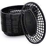 "Plastic Fry Basket, Eusoar 9.4"" x 5.9"" Fast Food Baskets 24pcs, Oval-Shaped Tray for Fast Food Restaurant Supplies, Deli Serv"