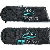 FE Active Camping Sleeping Bag - 3-4 Seasons, Extra Long, Hooded, Compact, Lightweight & Warm Sleeping Bag for Adults & Kids