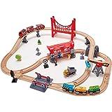 Hape E3730 Busy City Rail Set (51 Piece),Multicolor L: 33.5, W: 29.9, H: 7.9 inch