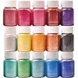 Mica Powder 15 Colors Shake Jars 0.35 oz/10 ml Natural Pearl Powder Resin Pigment for Soap Making Dye Kit Bath, Bomb Dye Colo