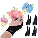 OTraki 4 Pack Artist Gloves for Drawing Tablet Free Size Artist's Drawing Glove with Two Fingers for Graphics Pad Painting Go