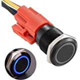"APIELE 16mm Latching Push Button Switch 12V DC On Off Black Shell with LED Angel Eye Head for 0.63"" Mounting Hole with Wire S"