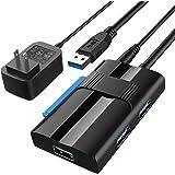 SATA USB 変換アダプター、ABLEW ハードディスク 変換アダプタ 2.5/3.5インチ HDD SSD SATA III UASP対応 USB3.0ポート×3+SATA 高速転送 SATA3 USB3.0変換ケーブル 12V/2A電源アダプ