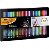 BIC Intensity Writing Felt Tip Pen Set Fine and Medium Points Set Of 32- Assorted Colours, Gift Set, Adult Colouring, Bullet