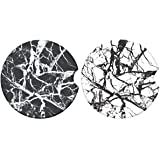 (Marble) - Car Coasters for Drinks, Black Marble Style Absorbent Ceramic Stone to Keep Your Car Cup Holders Clean and Dry,Sma