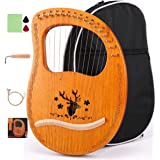 ETE ETMATE 16-String Lyre Harp, Mahogany Ancient Style Lyre, Handheld Harp Musical instrument with Tuning Wrench Black Gig Ba