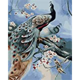 """Paint by Numbers DIY Painting Kit for Adults Peacock 16""""x 20"""" on Canvas Without Frame"""