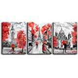 "Canvas Art Simple Life Black and white scenery romantic couple Wall Art Decor 16"" x 24"" 3 Pieces Framed Canvas Prints Black a"