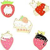 Sweet Strawberry Enamel Pins Set Cartoon Fruit Rabbit Cat Lapel Pins for Women Girl Cute Brooches Pin Badges for ClothingBac