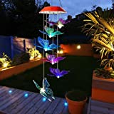 SIX FOXES LED Butterfly Wind Chimes, Color Changing Solar Wind Chimes Outdoor, Waterproof Wind Mobile Solar Lights, Décor for