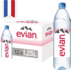 Evian Natural Mineral Water, 1.25L, Pack of 12