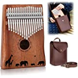 Kalimba, FIXM 17 Keys Thumb Piano with Protective Case and Study Instruction Tuning Hammer, Portable and Easy to Operate, Per