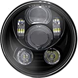 """Wisamic 5-3/4"""" 5.75"""" LED Projection Headlight for Harley-Davidson 883, Sportster, Triple, Low Rider, Wide Glide Motorcycles(B"""