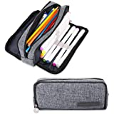 iSuperb Multi Compartments Pencil Case 3 Zippers Pencil Pouch Bag Square Grid Cosmetic Bags Organizer