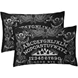 Aikul Set of 2 Throw Pillow Cover Spirit Witch Board Black Gothic Goth Occult Witchcraft Pillow Case Cushion Cover Lumbar Pil