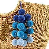 QTMY Gradient Blue Pom Pom Bag Charm Pendant Boho Keyring Keychain for Women Purse Handbag Decor