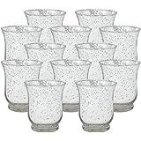 "Just Artifacts Mercury Glass HurricaneVotiveCandle Holder 3.5"" H- Mercury Glass Votive Tealight Candle Holders for Wedding"