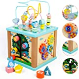Toddler Wooden 5 in 1 Activity Cube Center Multifunction Toys Bead Maze Shape Sorting Gears Sliding Board Games Montessori Co